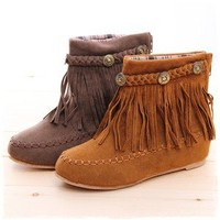 BN Boho Flat Fringed Faux Suede Ankle Boots Booties Oxfords Moccasin Beige Brown