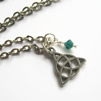 Celtic Triquetra Charm Necklace, Antiqued SILVER, Personalized Birthstone Jewelry, Wiccan Necklace, Minimalist Jewelry, Choose Your Length