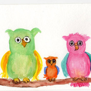 Colorful  OWL ART   Original  Trio of Owls on a by SharonFosterArt