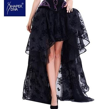 Fashion Women Sexy Skirts Lace Corset Skirt Floral Print High Low Steampunk Maxi Skirts Summer Long Mesh Skirts