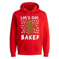 XtraFly Apparel Men's Let's Get Baked Gingerbread Cookie Ugly Christmas Hooded-Sweatshirt Pullover Hoodie