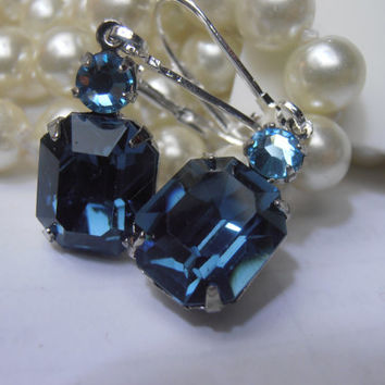 Montana Blue/Aquamarine, 14x10mm, Swarovski Earrings, Crystal, Rhodium Plated, Dangle Earrings - Drop Earrings,Vintage Style