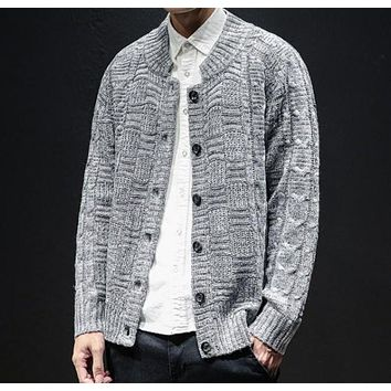 Mens Crew Neck Button Front Cardigan in Gray