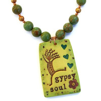 Gypsy Soul Handmade Turquoise Necklace, Dancing Woman Pearls Boho Jewelry
