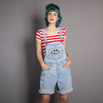 90s MICKEY MOUSE Denim OVERALLS / Stone Wash Jeans Shorts Romper, xs - m