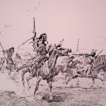 Blackfeet Raiding Party Print,Charles Russell Sketch, Montana National Society Art Print, CM Russell Art Print, Collectible Art, Man Cave