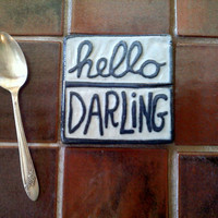 Gray and white 4 tile  Hello Darling by 4cornerspottery on Etsy