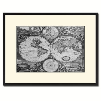 World Hemispheres Vintage B&W Map Canvas Print, Picture Frame Home Decor Wall Art Gift Ideas