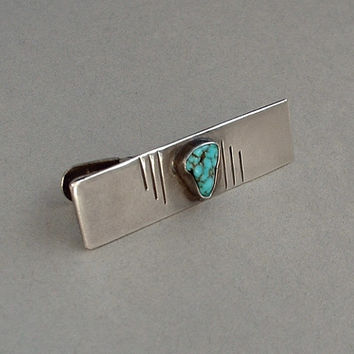 Big Shop SALE!!!!!!  Old Pawn Vintage Native American Men's NAVAJO Tie Clip Clasp TURQUOISE Sterling Silver c.1930's