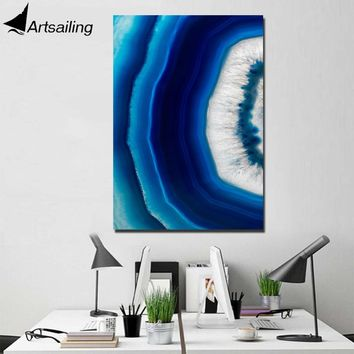 ArtSailing 1 panel canvas wall art blue agate crystal Painting wall pictures for living room posters home decoration NY-7780D