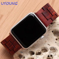 New arrival Apple watch band quality wooden watchband 24mm black brown strap for Apple iwatch Series 1 2 42mm