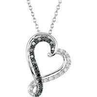 "1/5 CTW Black & White Diamond Heart 18"" Necklace"