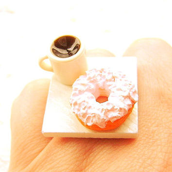 Coffee Ring  Cute Food Jewelry Ring Donut