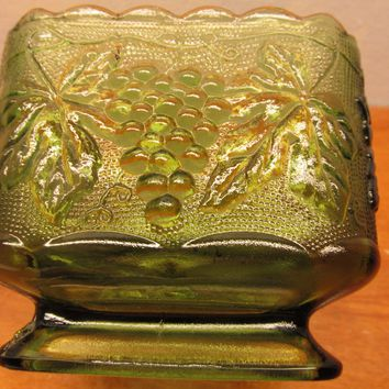 vintage fenton green grape paneled compote dish