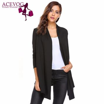 ACEVOG Women Open Front Long Sleeve Solid Knit Thin Cardigans Spring Autumn Ladies Sweaters Fashion Simple Female Cardigan