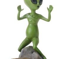 Alien Little Green Man Escaping Extraterrestrial Outer Space Figurine 4.5H