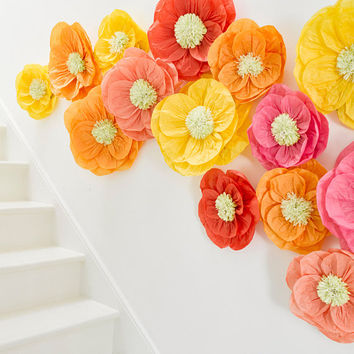 Giant wall display or garland using tissue paper flowers for wedding, baby shower or engagement parties