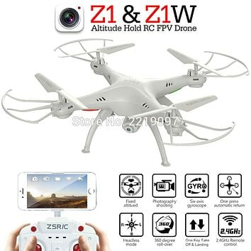 ZSRC Z1 & Z1W Drone One Key Return Quadcopter Headless Can Add WIFI FPV Altitude Hold With HD Camera RC Helicopter VS H20C X5C-1