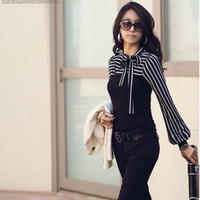 Women Stripe Puff Long Sleeve Tops T-Shirt Blouses Casual Career Neck with Bow