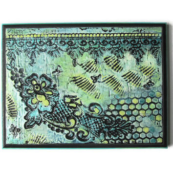Original textured painting of Rose lace with butterflies and honeycomb pattern in aqua and pale yellows, modern art, plaster art, wall decor