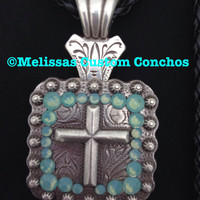Square antique cross necklace with Pacific Opal swarovski crystals. Comes with a black braided 18 inch leather cord.