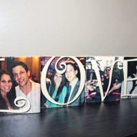 PHOTO BLOCK Set, Love, Gift, Personalized Photo Gift, Solid Wood, Engagement Gift, Couples, Anniversary, Image Transfer, Birthday, Spouse