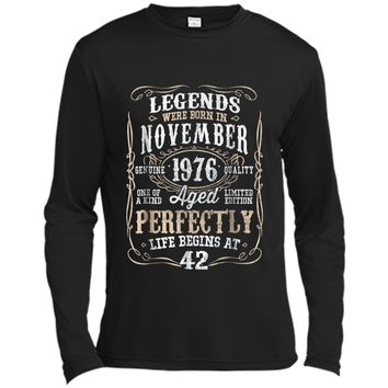 Legends Born NOVEMBER 1976 42nd Awesome Birthday Gift  Long Sleeve Moisture Absorbing Shirt