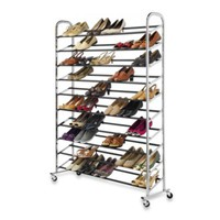60-Pair Commercial Grade Rolling Shoe Rack in Chrome