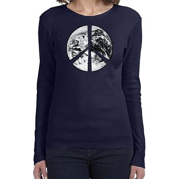 Buy Cool Shirts Ladies Peace T-shirt Earth Satellite Symbol Long Sleeve