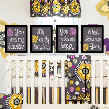 Purple Yellow Charcoal Gray - You Are My Sunshine Set of 4 Wall Art Decor Prints Poster Baby Nursery Child Kid Room Typography