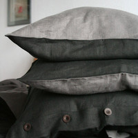 Linen Bedding / Black and Gray in Queen size