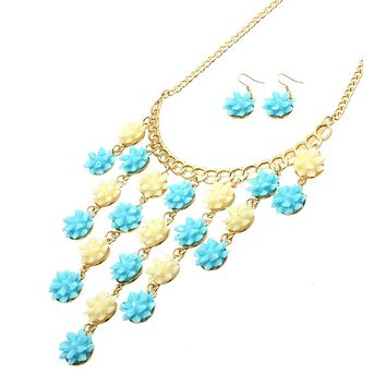 Flower Pendants Drop Gold Necklace Set