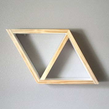 Geometric Shelf . Triangle Shelf . Modern Shelving . Pine Wood Shelves . Handmade Shelving . Minimal Design Shelves