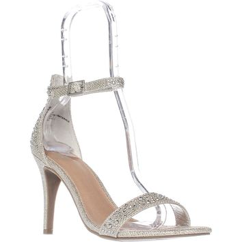 MG35 Blaire Ankle Strap Dress Sandals, Silver, 6 US