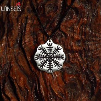landseis 1pcs viking men pendant norse Icelandic Vegvisir symbol necklace A Protection Symbol Pendant, Magical Staves Compass