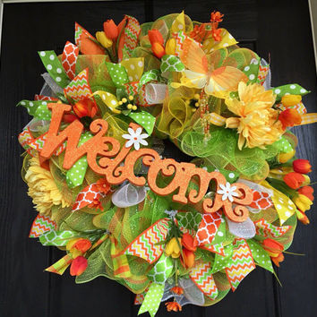 Welcome Deco mesh wreath, spring deco mesh wreaths, spring mesh wreath, orange green and yellow wreath, Summer deco mesh wreath