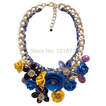 Crystal Flower Necklaces Pendants Chunky Big Choker Necklace Vintage Collar Statement Jewelry