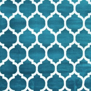 2903 Turquoise Moroccan Lattice Area Rugs