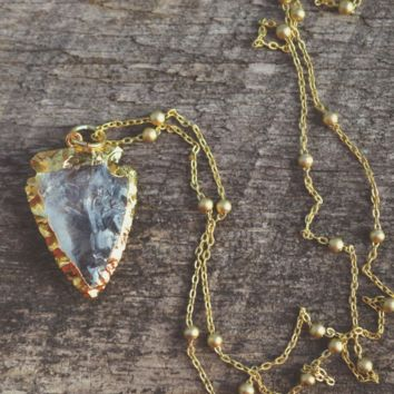 Gold Quartz Arrowhead Necklace