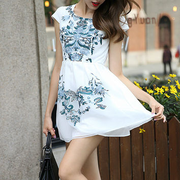 White Embroidered Short Chiffon Casual Dress
