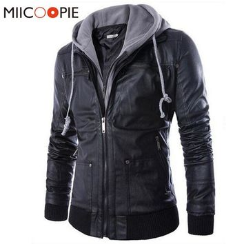 New Winter Fashion Leather Jackets Men Motorcycle Leather Jackets Men Leather Clothing Men Leather Jackets Male hooded Coats