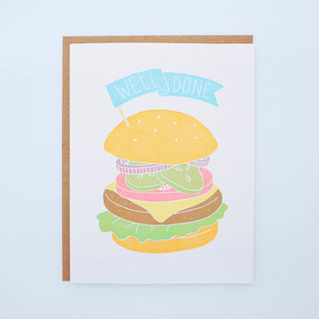 Well Done Burger Letterpress Card