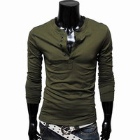 Multi-Button Long Sleeve Spring T-Shirt
