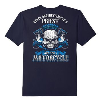 Priest Biker Who Rides A Motorcycle Shirt Skull Babe