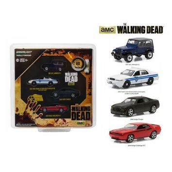 """Hollywood Film Reels Series 4 """"The Walking Dead"""" (2010-Current) TV Series 4 Cars Set 1/64 Diecast Model Cars by Greenlight"""