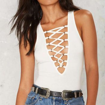 Lace-Up Early Plunging Bodysuit - White