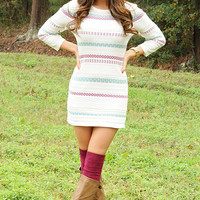 Memories On The Wall Sweater Dress: Multi | Hope's