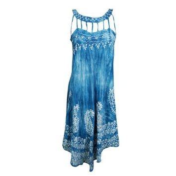 Mogul Womens Tie Dye Blue Sundress Batik Embroidered Sleeveless Flare Summer Fashion Hippie Chic Tank Dresses - Walmart.com