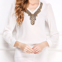 Fashion Antique Copper Diamond Beading Long-sleeved V-neck Chiffon Blouse