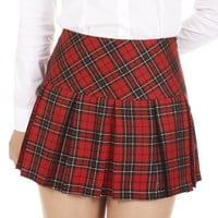 Danischoice Women's Plaid Pleated Mini Skirt with Golden Lines